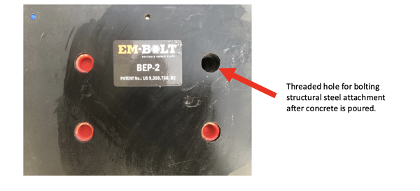 Example of new Style EM-BOLT Boltable Concrete Embed Plate